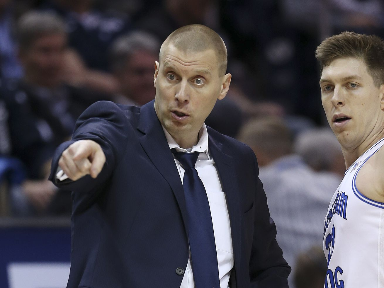 BYU Cougars head coach Mark Pope instructs in Provo on Saturday, Jan. 11, 2020. BYU won 96-70.