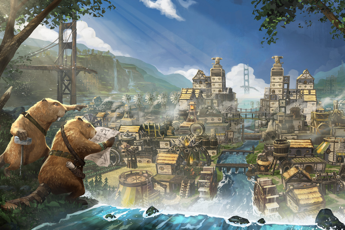 Art from the game Timberborn. Two beavers standing at a waterfall's edge pointing out at a magnificent colony with sophisticated structures.
