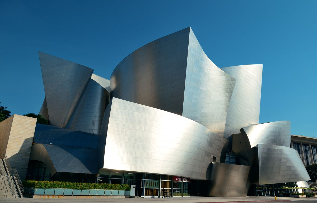 Walt Disney Concert Hall, a building with a facade full of sweeping metallic surfaces