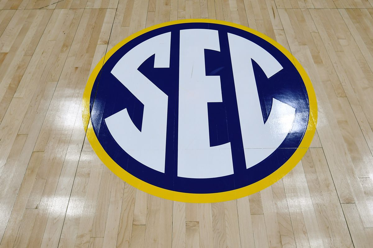 View of SEC logo on the court after the announcement the SEC Conference Tournament was cancelled at Bridgestone Arena.