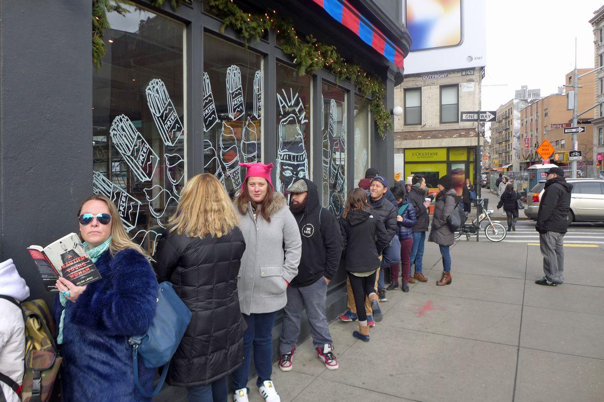 The long long line at Bob's Burger pop-up