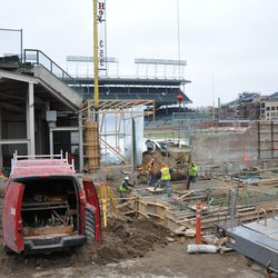 Gate Q area on Sheffield. Note the suspended bucket, which is transferring concrete