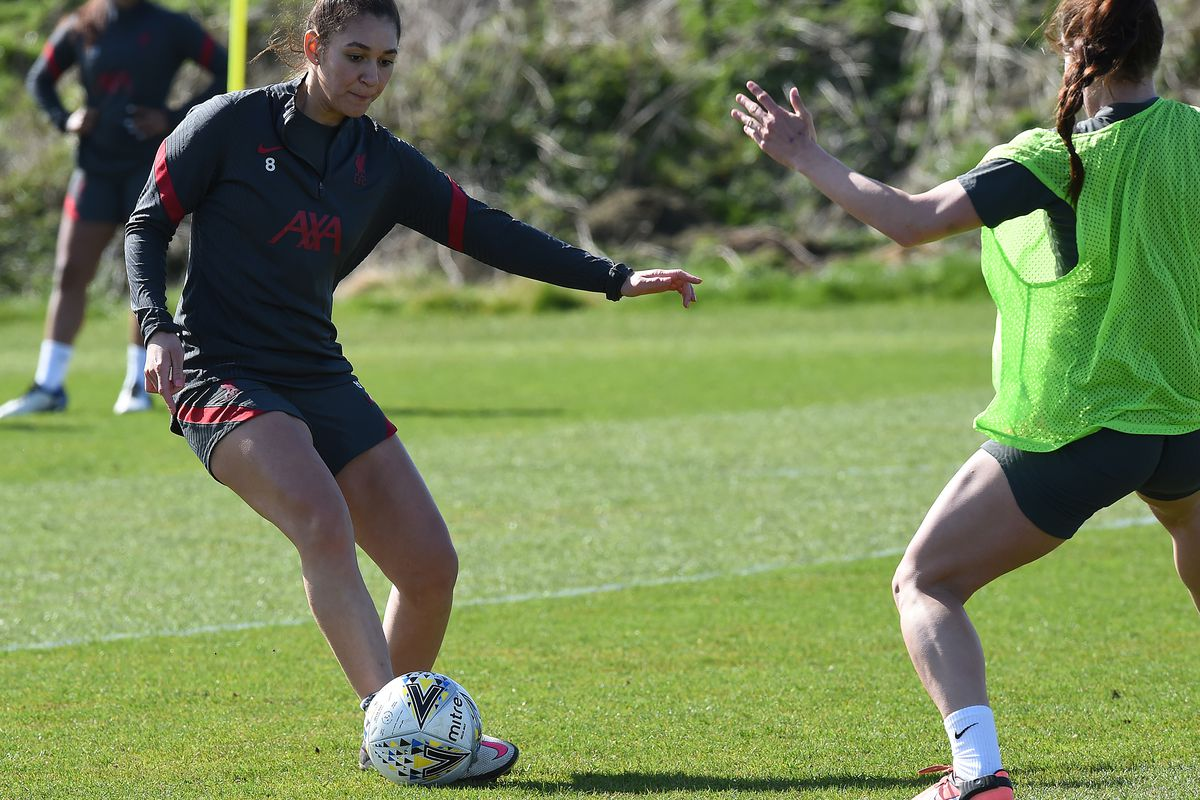 Jade Bailey of Liverpool Women during a training session at Solar Campus on March 24, 2021 in Wallasey, England
