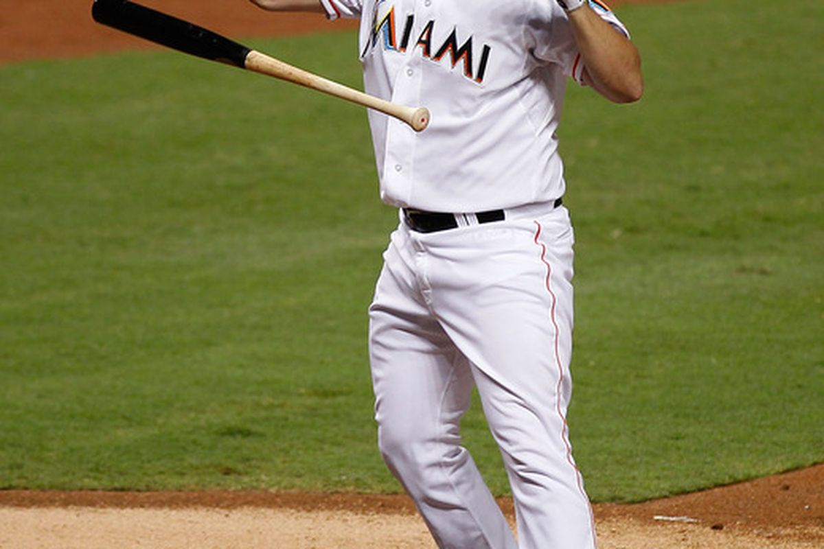 MIAMI, FL - APRIL 28:  Gaby Sanchez #15 of the Miami Marlins reacts after striking out during a game against the Arizona Diamondbacks at Marlins Park on April 28, 2012 in Miami, Florida.  (Photo by Sarah Glenn/Getty Images)