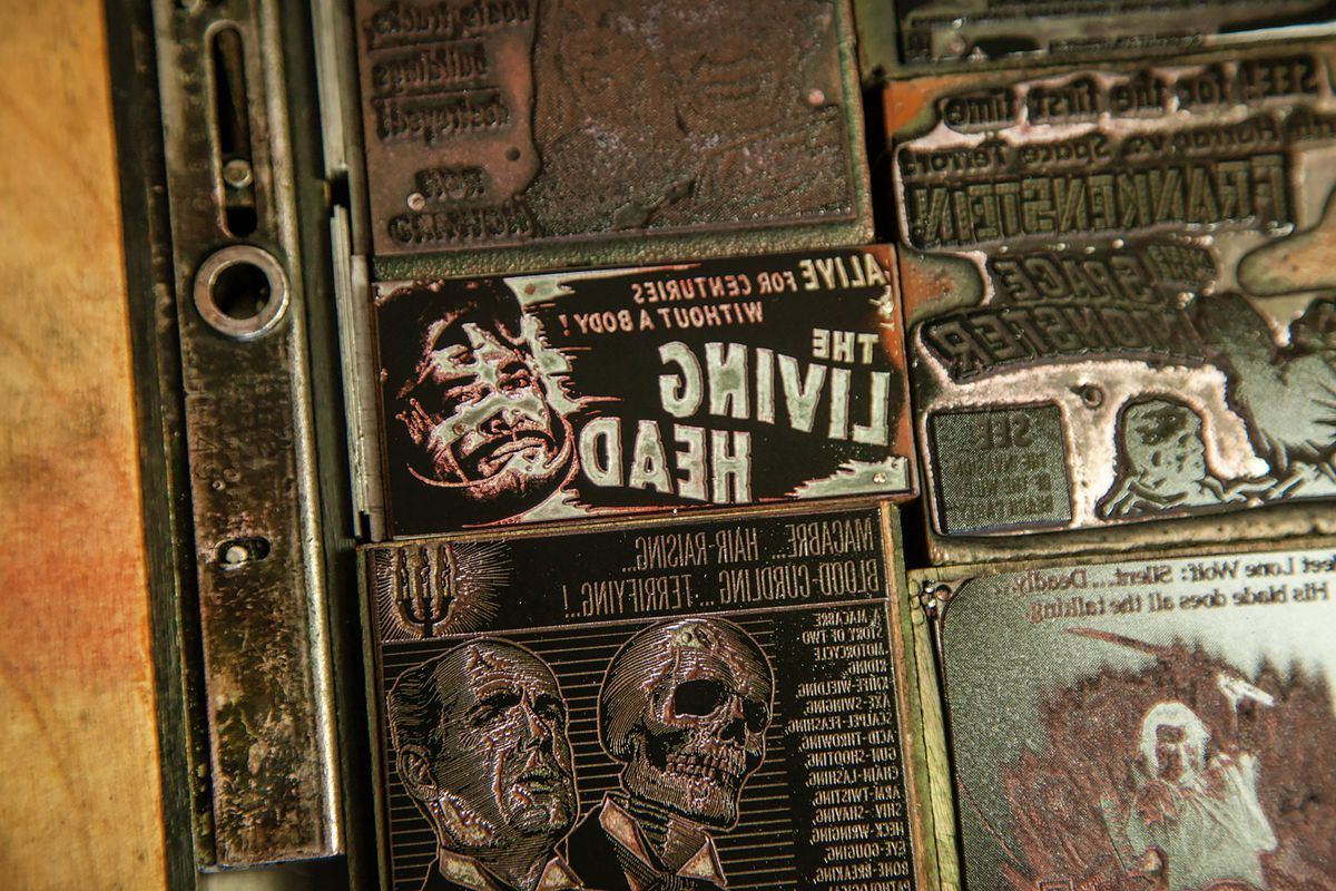 """Vintage letterpress film advertising plates say """"The Living Dead"""" with illustrations of zombies"""
