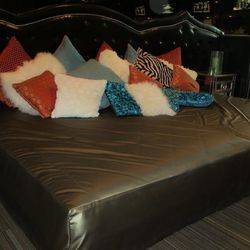 A giant bed in the game room at the Gold Spike.