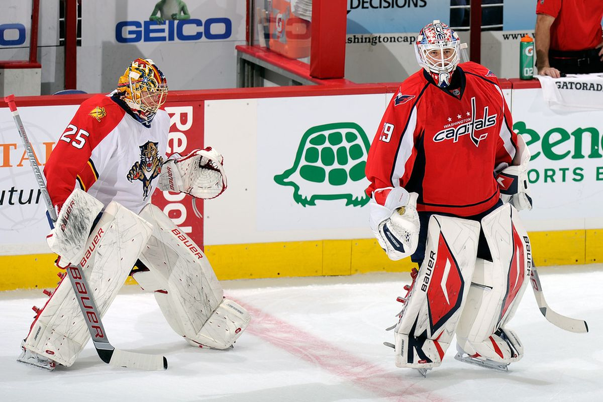 WASHINGTON, DC - OCTOBER 18:  Tomas Vokoun #29 of the Washington Capitals and Jacob Markstrom #25 of the Florida Panthers warm up before the game at the Verizon Center on October 18, 2011 in Washington, DC.  (Photo by Greg Fiume/Getty Images)