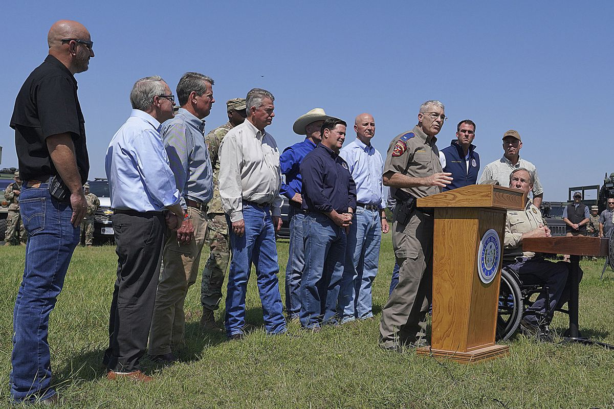 Texas Department of Public Safety Director Steve McCraw speaks during a press conference with governors in in Mission, Texas.