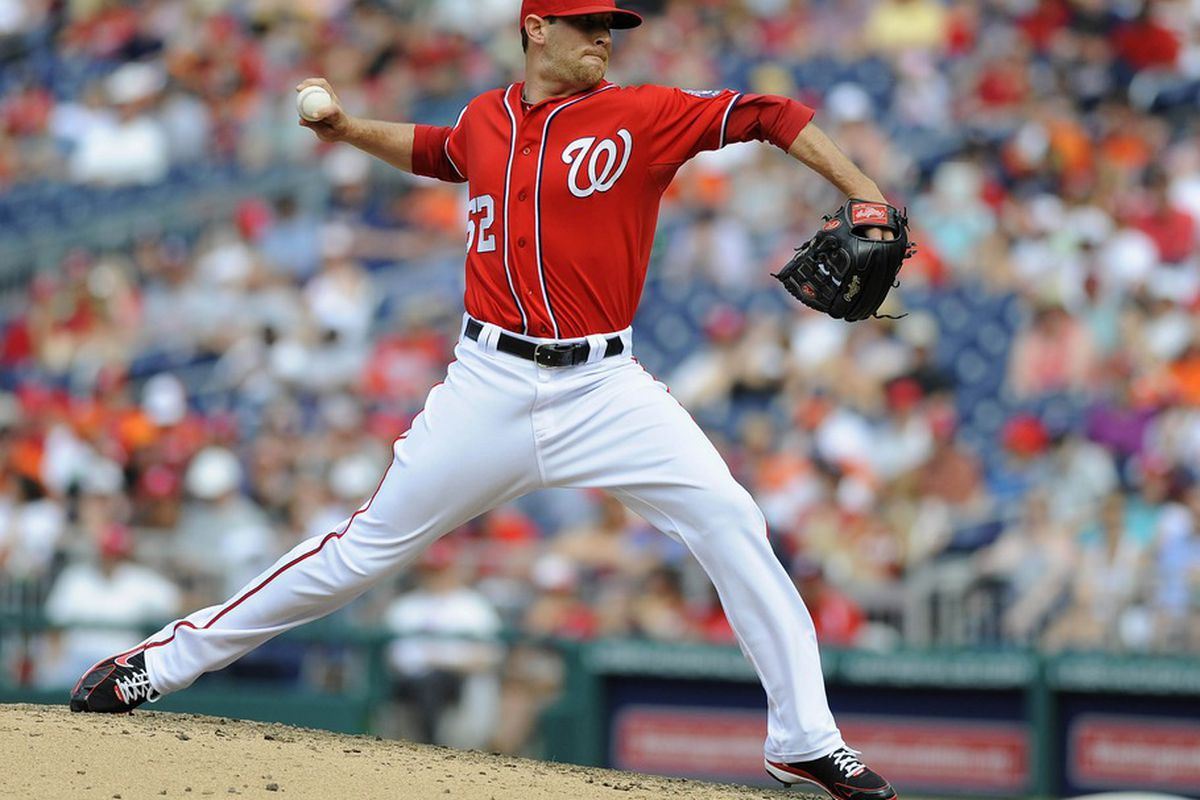 May 20, 2012; Washington, DC, USA; Washington Nationals relief pitcher Ryan Mattheus (52) throws to the Baltimore Orioles during the ninth inning at Nationals Park. The Nationals won 9-3. Mandatory Credit: Brad Mills-US PRESSWIRE