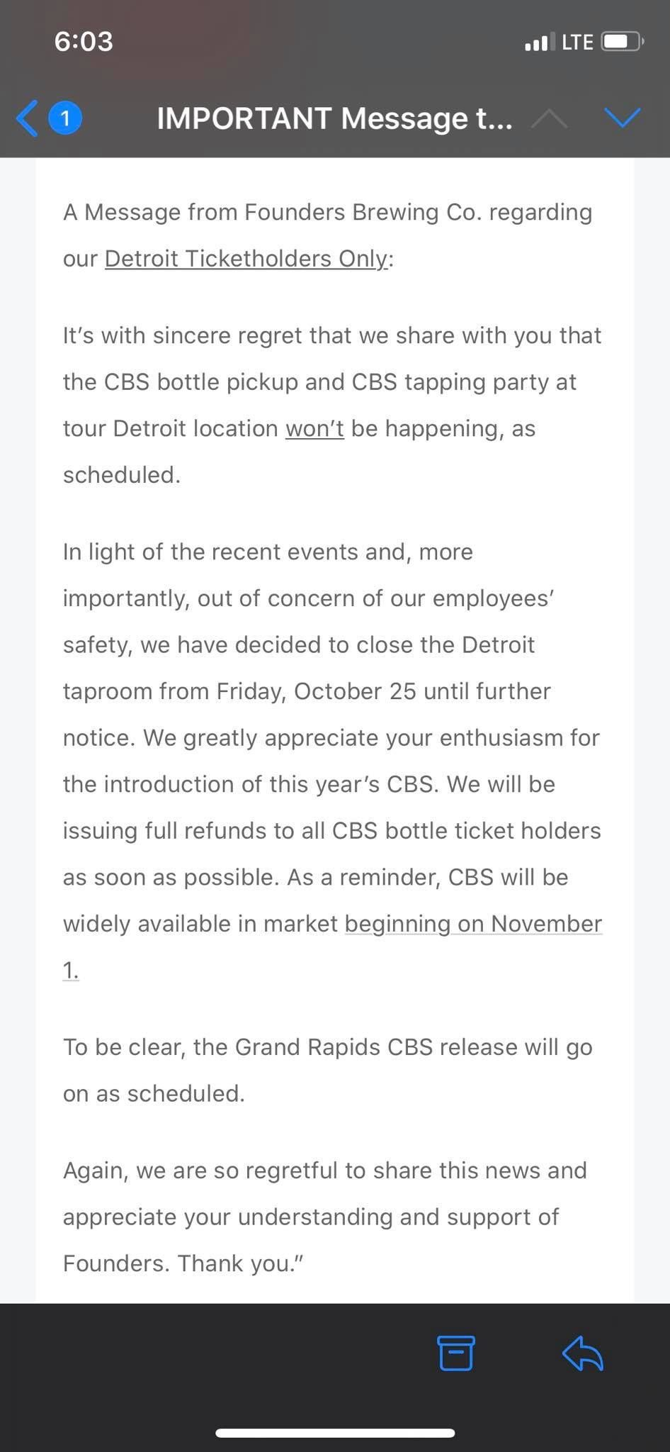 The email is displayed as a screenshot. It states that the Detroit event has been canceled and that ticket holders will receive refunds. The Detroit location is closed until further notice due to threats.