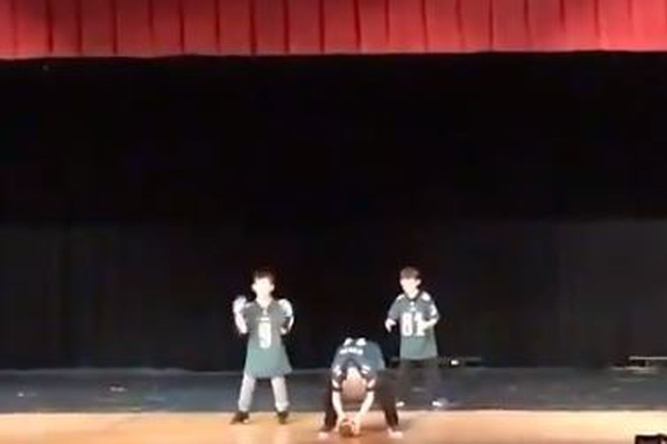 Young Eagles fans re-enact the Philly Special for their school's talent show