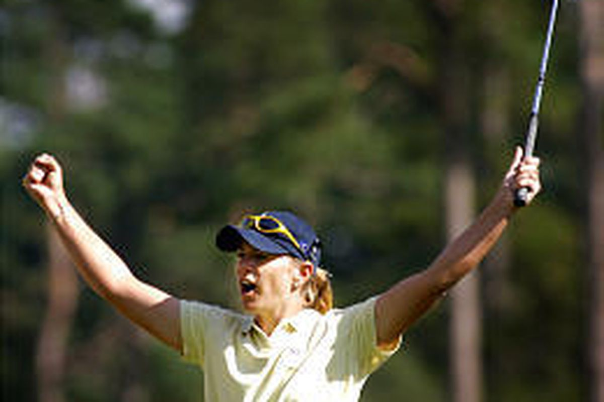 Annika Sorenstam of Sweden celebrates after making a crucial putt.