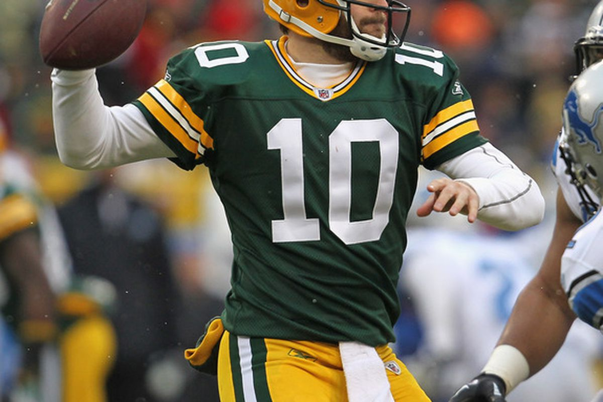 GREEN BAY, WI - JANUARY 01:  Matt Flynn #10 of the Green Bay Packers throws a pass against the Detroit Lions at Lambeau Field on January 1, 2012 in Green Bay, Wisconsin. The Packers defeated the Lions 45-41.  (Photo by Jonathan Daniel/Getty Images)