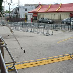 4:17 p.m. The bicycle valet lot, between the Cubs Store and McDonald's -