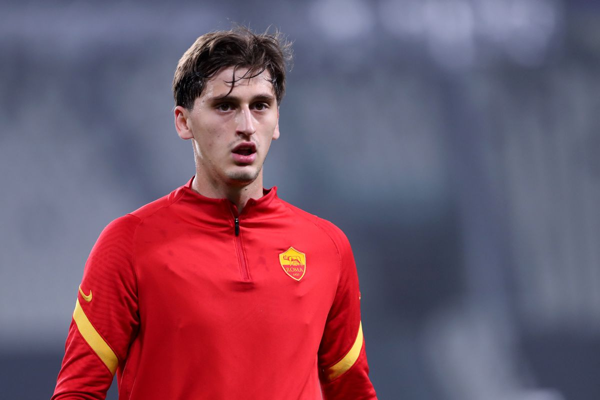 Marash Kumbulla of As Roma looks on before the Serie A...