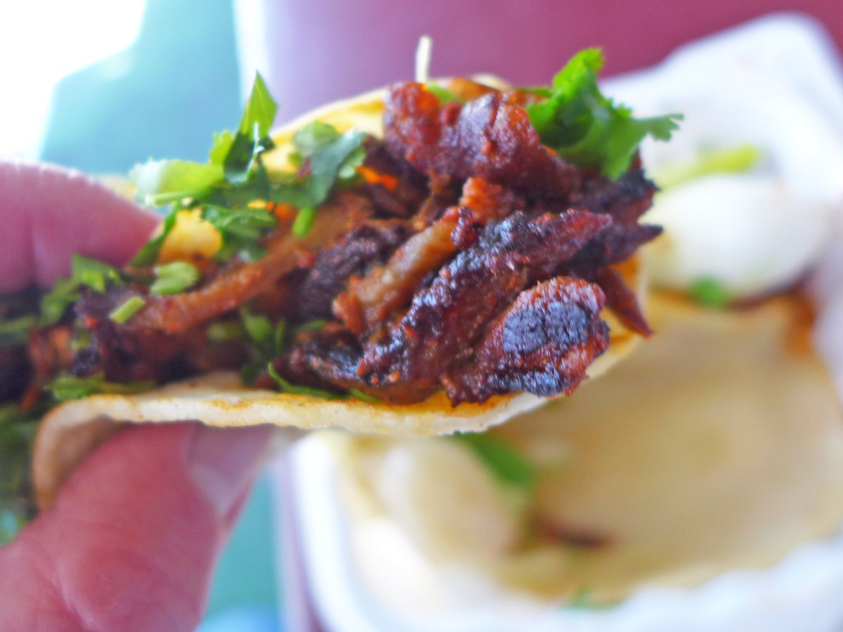 A hand pinches a taco bulging with charred red meat.