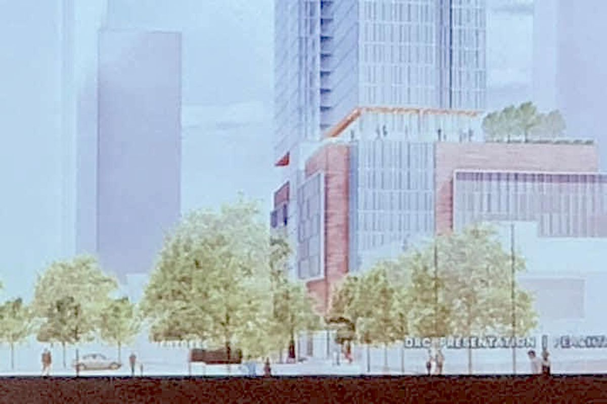 The proposed street elevation, as seen from west of Peachtree.