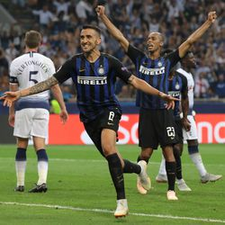 Matias Vecino of FC Internazionale celebrates his goal during the Group B match of the UEFA Champions League between FC Internazionale and Tottenham Hotspur at San Siro Stadium on September 18, 2018 in Milan, Italy.