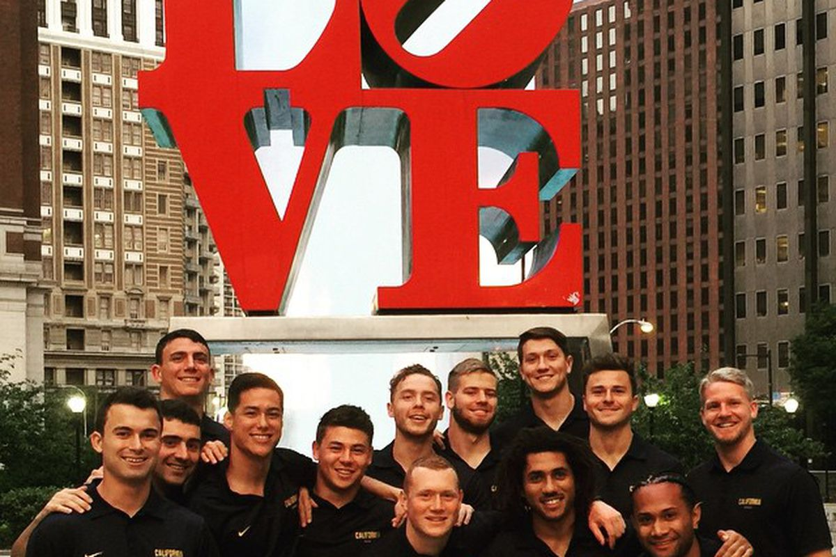 Cal Rugby posed at a popular Philly locale