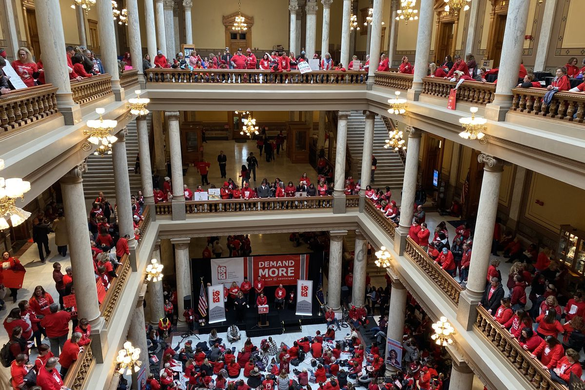 Thousands of Indiana teachers converged on the Statehouse at the Red for Ed rally on Tuesday, Nov. 19, 2019.
