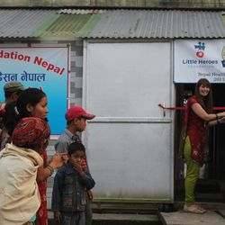 Jessica Braithwaite at the official opening of the Sunshine Heroes Health Clinic in Nepal.