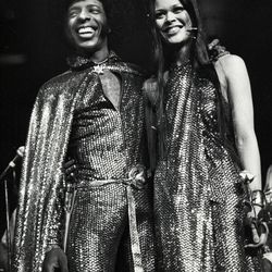 Sly Stone and Kathy Silva tied the knot in matching sparky gold ensembles — both designed by Roy Halston — on June 5th, 1974 in front of thousands of fans at Madison Square Garden.