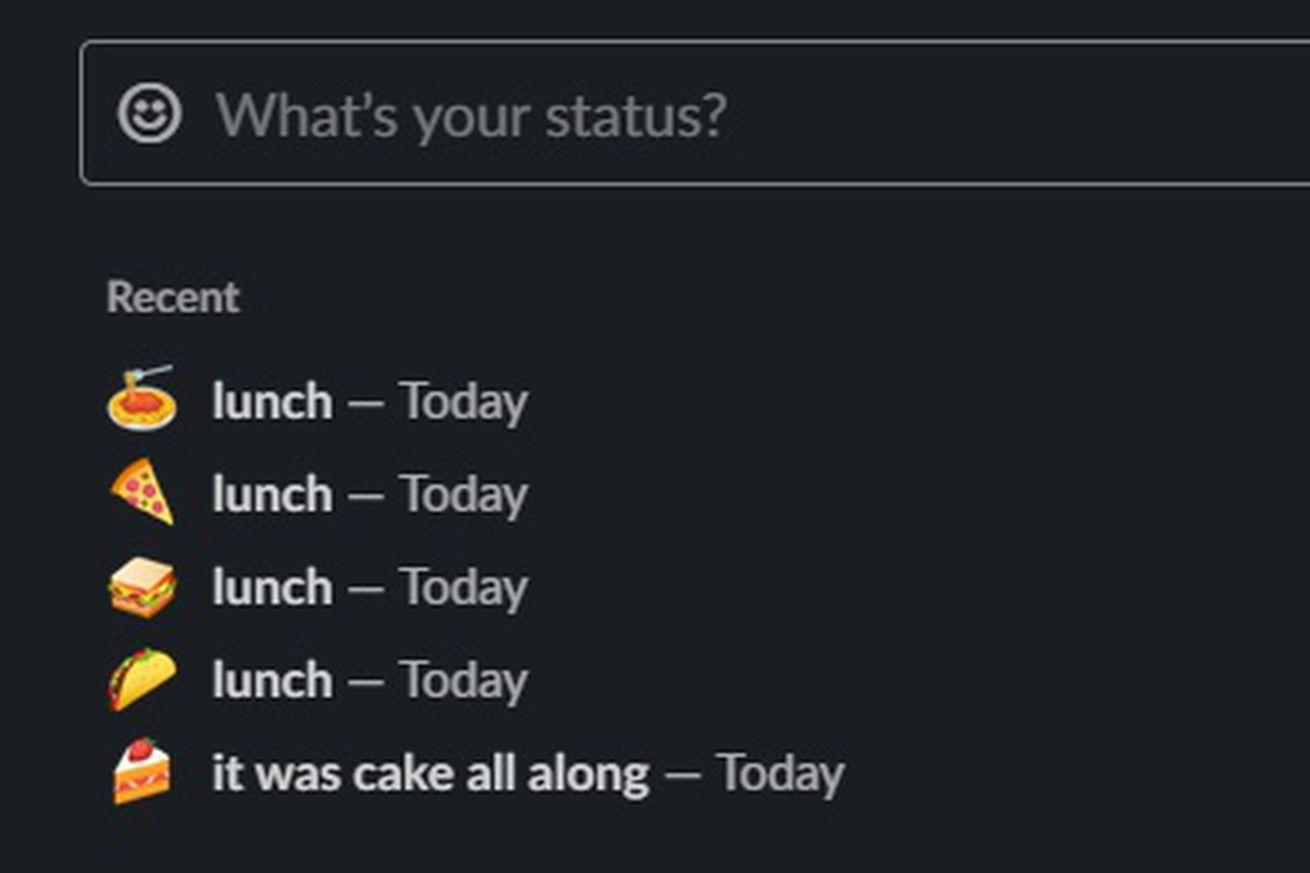 slack status carb shame lunch.0