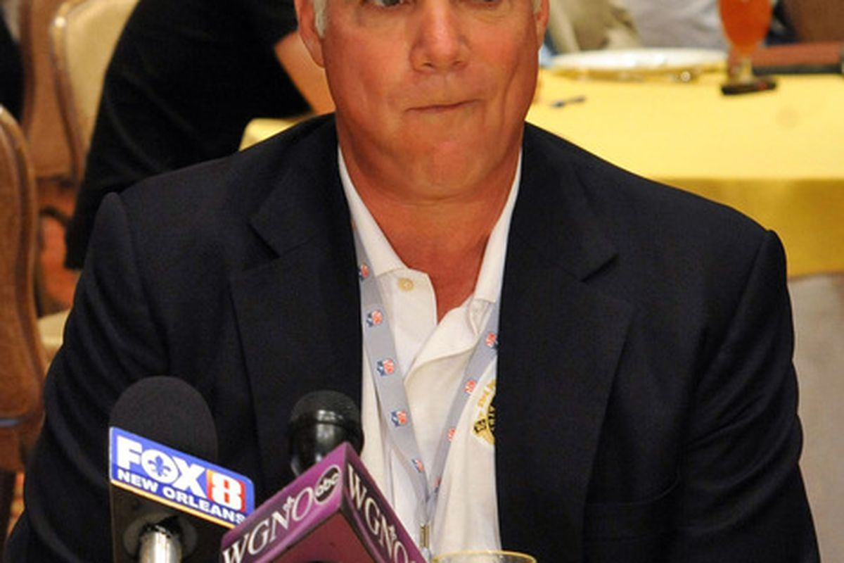 March 28,  2012; Palm Beach, FL, USA; Atlanta Falcons head coach Mike Smith listens to a reporters question during the NFC head coaches media breakfast at the Breakers Hotel. Mandatory Credit: Steve Mitchell-US PRESSWIRE