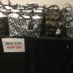 Printed totes and satchels, $90