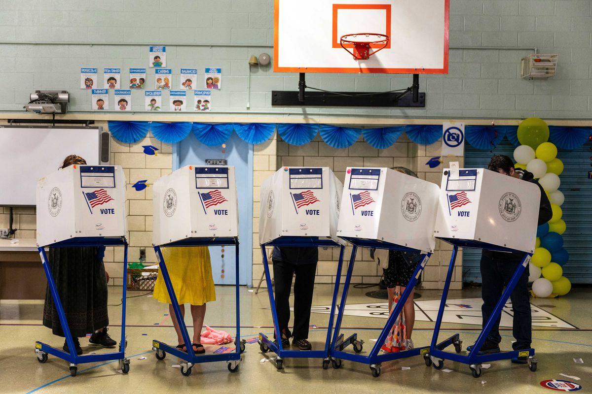 Voters at the Elijah Stroud Campus School in Prospect Heights, Brooklyn, June 22, 2021.