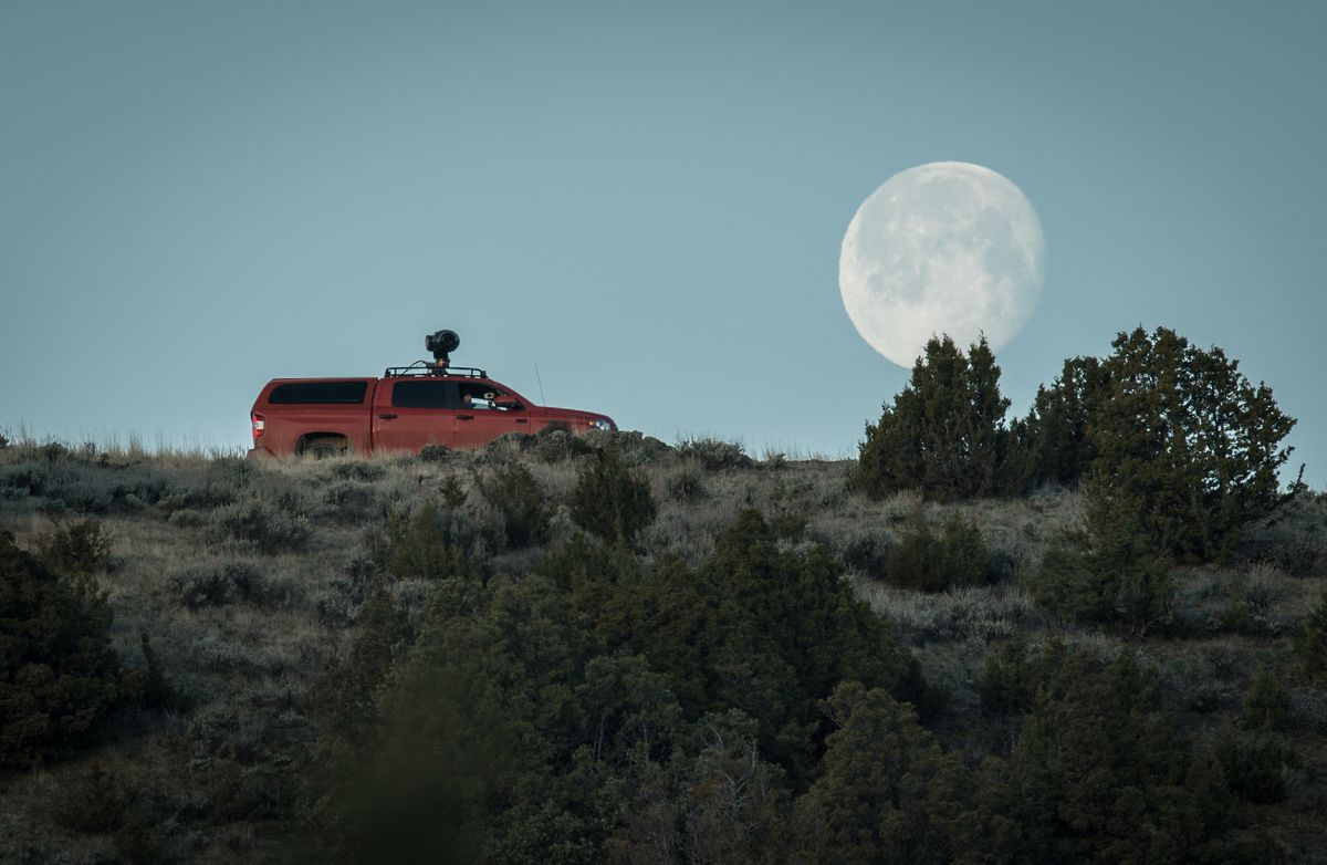 Truck with the Shotover F1 camera mount, and the moon in the background.