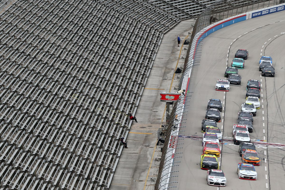 Harrison Burton, driver of the #20 DEX Imaging Toyota, leads a restart during the NASCAR Xfinity Series O'Reilly Auto Parts 300 at Texas Motor Speedway on October 24, 2020 in Fort Worth, Texas.
