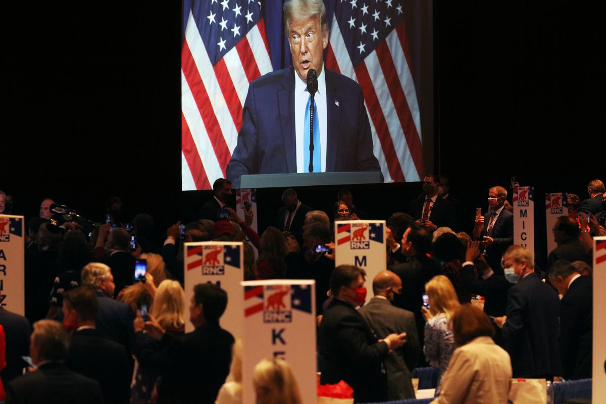 President Donald Trump Speaks to Delegates on the First Day of the Republican National Convention