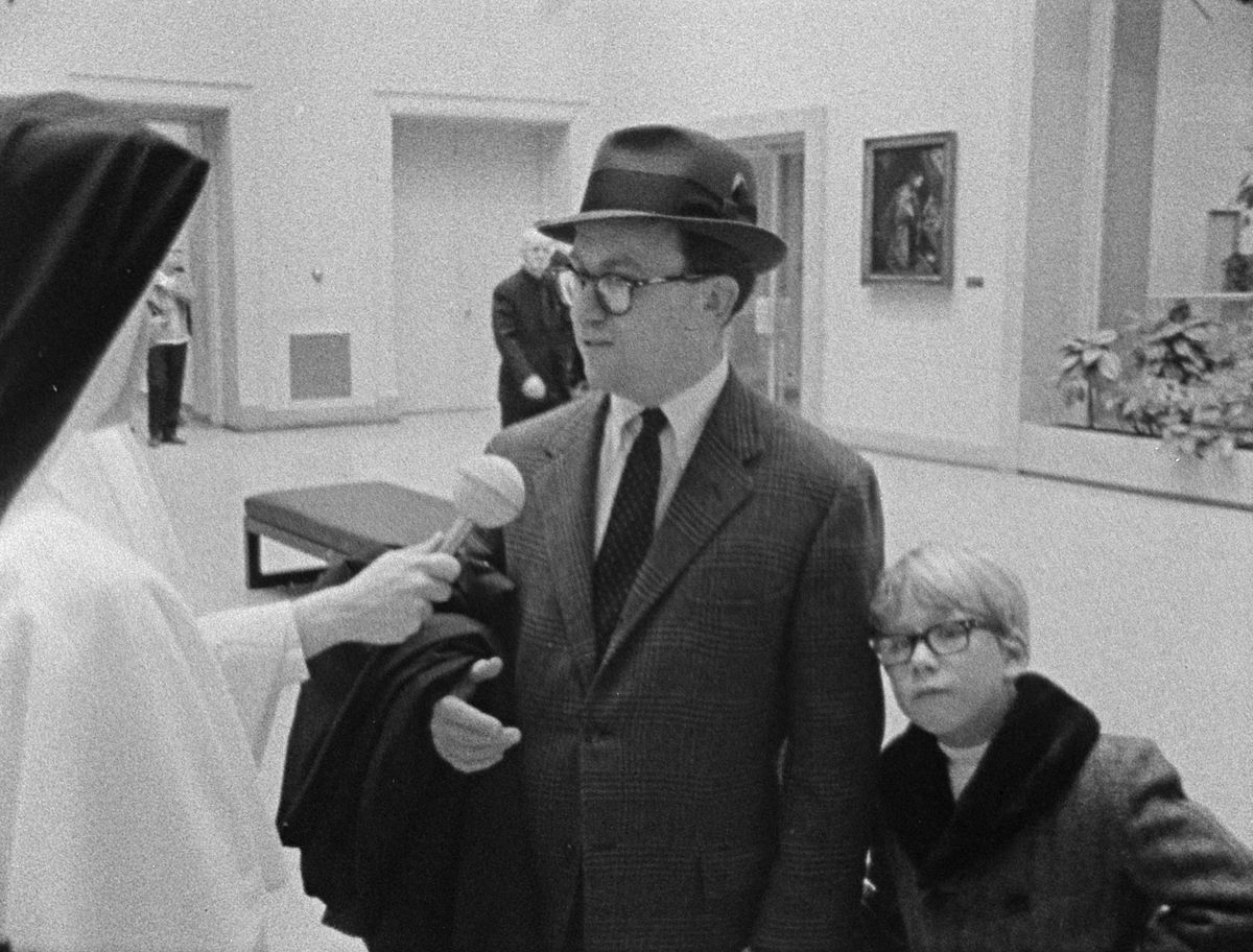 """A father and son are interviewed at The Art Institute in """"Inquiring Nuns,"""" a 1967 documentary asking Chicagoans """"Are you happy?"""" The movie is being showcased at the Siskel Film Center to mark its 50th anniversary. 