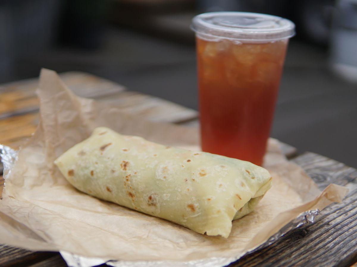 Smoked salmon lefse and lingonberry iced tea at Viking Soul Food
