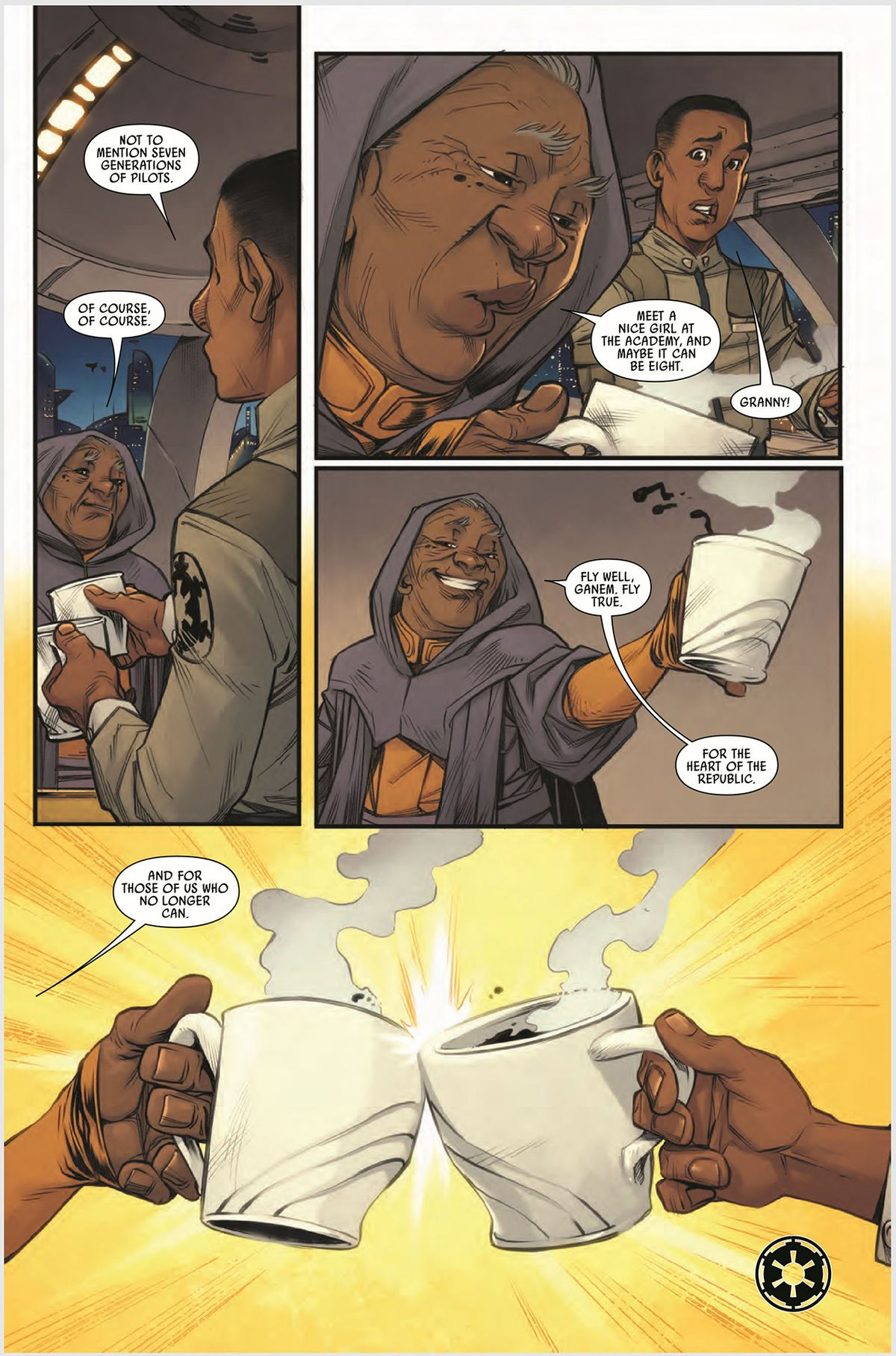 """A TIE pilot talking with his grandmother in Marvel's TIE Fighter #4. """"Fly well, Ganem. Fly true,"""" she says. """"For the heart of the republic."""" Then offers him a toast. He ignores her confusion. """"And for those of use who no longer can,"""" she adds."""