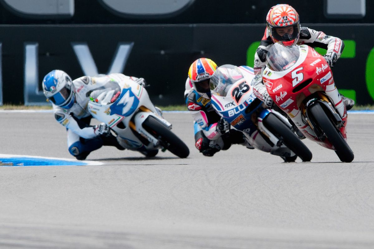 ASSEN, NETHERLANDS - JUNE 24:  Johann Zarco of France and Avant Air Asia Ajo leads the field during the qualifying practice of MotoGP of Netherlands at TT Circuit Assen on June 24, 2011 in Assen, Netherlands.  (Photo by Mirco Lazzari gp/Getty Images)