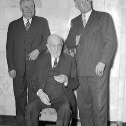 The First Presidency came together for a photo following general conference in 1940. Left to right, J. Ruben Clark, Heber J. Grant and David O. McKay.