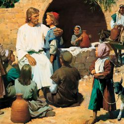 Many people brought their children to be blessed by Jesus. The disciples thought Jesus should not be bothered and sent them away. Jesus told the disciples to let the little children come to Him. Then He taught that only those with the faith of a little child can enter God's kingdom. Jesus welcomed the little children into His arms and blessed them. Artist, Harry Anderson. Pictures of life of Christ for special issue. Monday, Dec.28, 2009, Photo copyright IRI