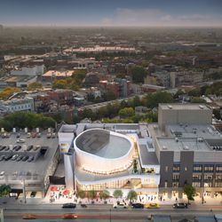 An aerial view of the  planned Steppenwolf renovation (rendering). | Adrian Smith + Gordon Gill (provided)