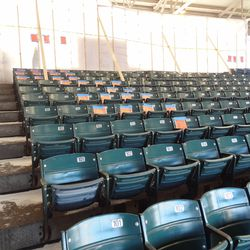 Aisle 218. The pages taped in the back are for available seats inaccessible due to offseason maintenance work