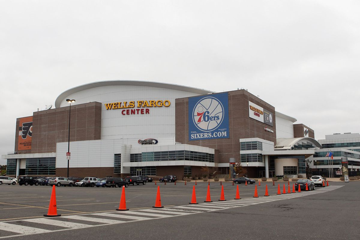 PHILADELPHIA, PA - OCTOBER 12:  An exterior view of the Wells Fargo Center prior to the game between the Vancouver Canucks and the Philadelphia Flyers on October 12, 2011 in Philadelphia, Pennsylvania.  (Photo by Bruce Bennett/Getty Images)