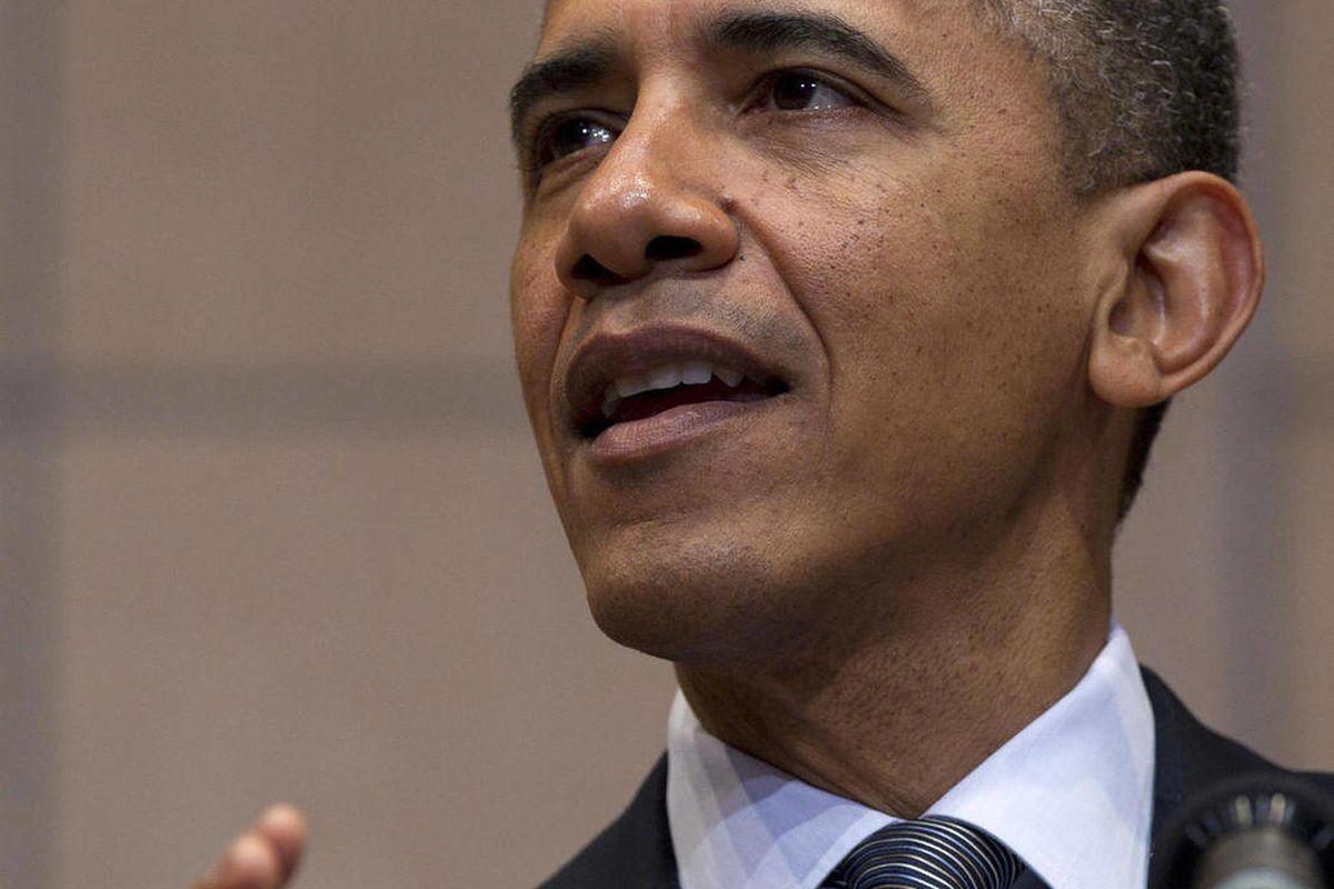 President Barack Obama speaks at the  Holocaust Memorial Museum in Washington, Monday, April 23, 2012.