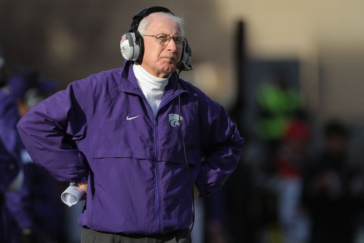 Bill Snyder heard that I changed my pick to Syracuse and he's ticked!  (Photo by Doug Pensinger/Getty Images)