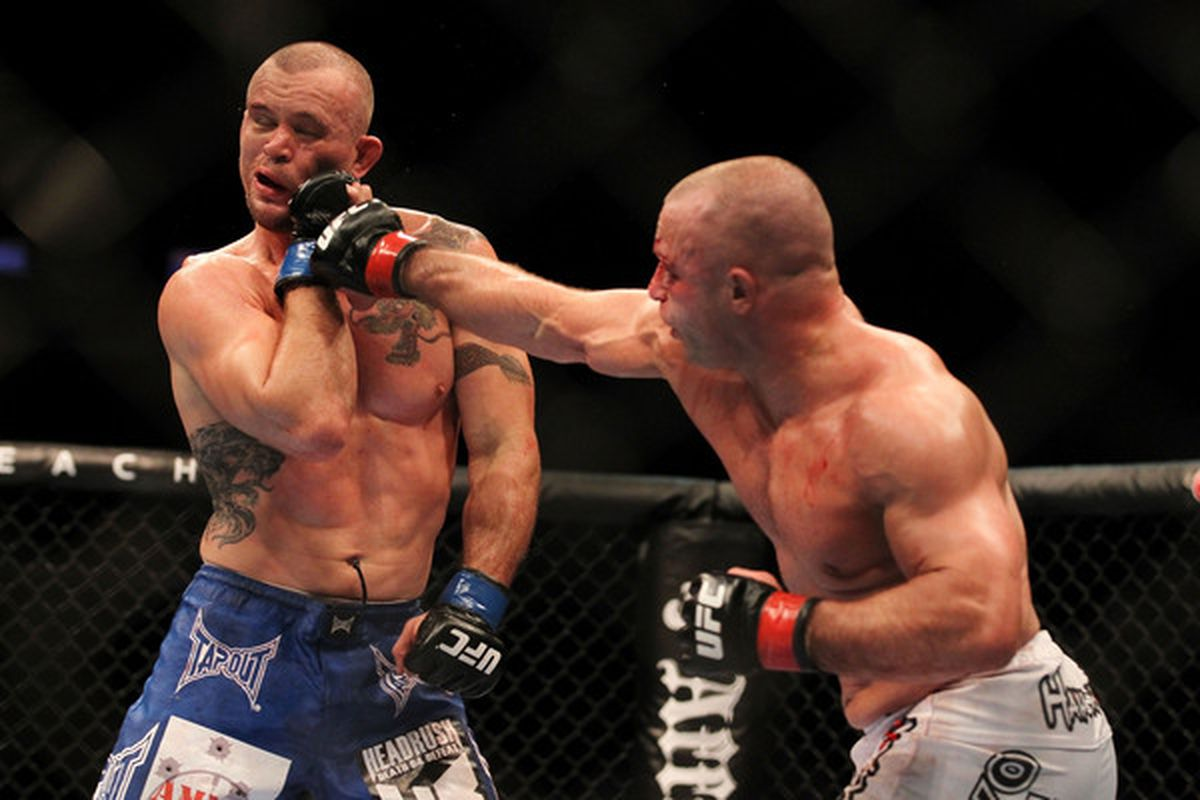 INDIANAPOLIS - SEPTEMBER 25:  (R-L) Matt Serra punches Chris Lytle during their UFC welterweight bout at Conseco Fieldhouse on September 25 2010 in Indianapolis Indiana.  (Photo by Al Bello/Zuffa LLC via Getty Images)