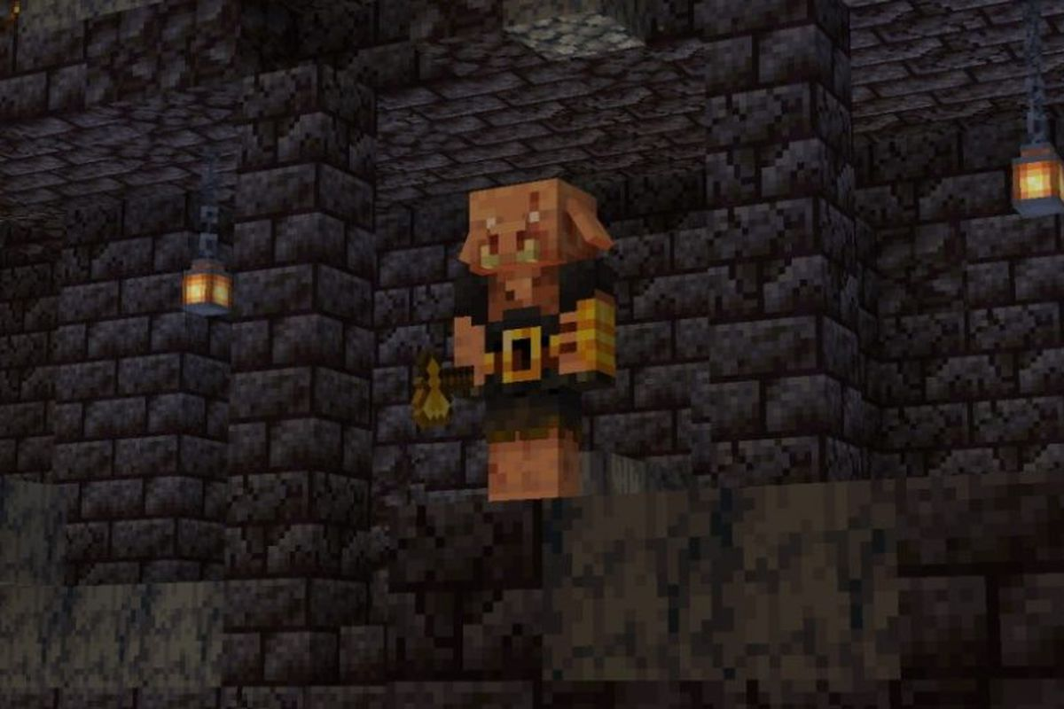 Minecraft - a Piglin Brute outside of a Nether Bastion