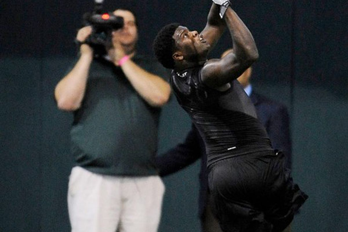 Mar 21, 2011; Waco, TX, USA; Baylor Bears wide receiver Kendall Wright (1) catches a pass during the Baylor pro day at the Allison Indoor Facility. Mandatory Credit: Jerome Miron-US PRESSWIRE