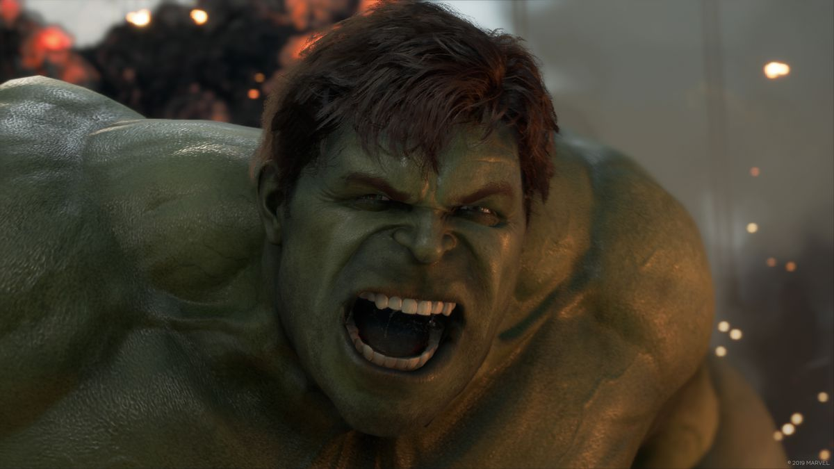 A close-up of the Hulk yelling angrily from Marvel's Avengers, a game developed by Crystal Dynamics and published by Square Enix.