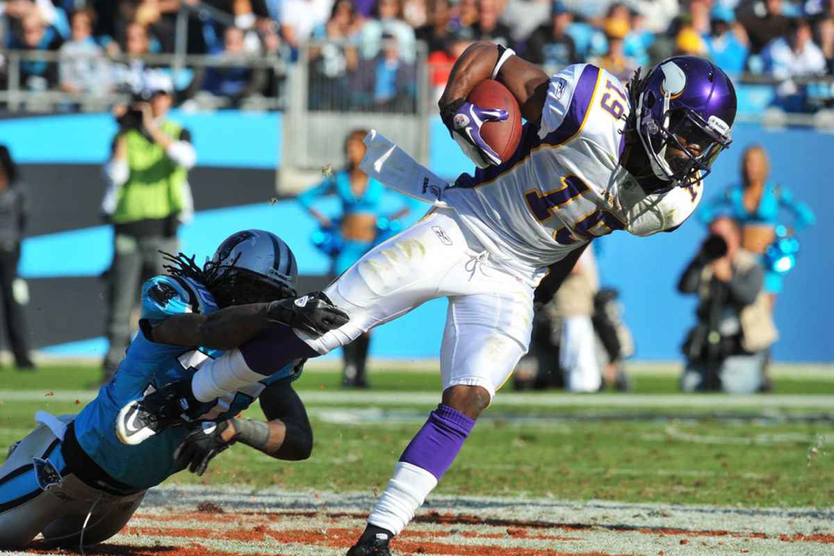 The Minnesota Vikings brought Devin Aromashodu back on a one-year deal this off-season. Will he be on the team for Week 1 of the regular season?  (Photo by Al Messerschmidt/Getty Images)