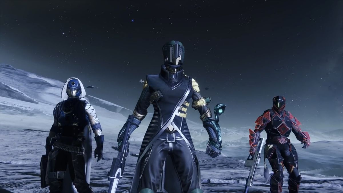 Destiny 2 - a hunter, a warlock and a titan on the moon